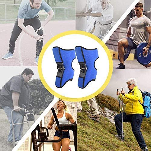 ABMOS Estabilizador de Rodilla, Correa de rótula, Fuerza de Resorte de elevación eléctrica, ligamento tendinoso para Artritis tendinitis Gimnasio 1 par- Negro