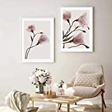KELEQI Modern Wall Art Pink Plant Flower Love Poster Canvas Painting Stampe Immagine Soggiorno Home Interior Decoration (40x65cm) X2 Frameless