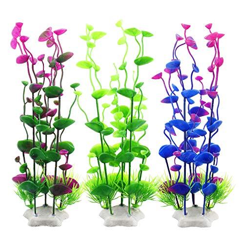 MyLifeUNIT Fish Tank Decorations, Plastic Artificial Aquatic Plants for Aquarium Decorations, 9.5 Inches (Pack of 3)