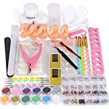 46 in 1 Acrylic Nail Kit - Cooserry Professional Acrylic Nails Set Tools For DIY Nail Art Display - 12 Nail Glitter Powder with Rhinestones For Nail Decoration Manicure Supplies