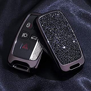 5 Buttons 3D Bling keyless Entry Remote Smart Key Fob case Cover for Land Rover Defender Discovery Sport LR2 LR3 LR4 Range Rover Sport EVOQUE and Jaguar XF XJ XJL XE F-PACE Black