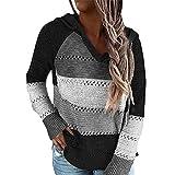 Sfit Jersey de punto para mujer, con capucha, a rayas, bloque de color, de manga larga, cuello en V, con capucha, patchwork, informal, cordón, jersey Negro M