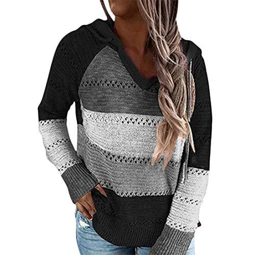 Sfit Jersey de punto para mujer, con capucha, a rayas, bloque de color, de manga larga, cuello en V, con capucha, patchwork, informal, cordón, jersey Negro L