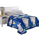 HOLY HOME Big Hero 6 Baymax Boys and Girls Flannel Fleece Blanket Throw (80'x90',Blue)