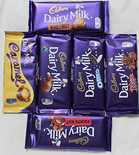 Cadbury Dairy Milk Most Popular Chocolate Bars From England- Whole nut, Caramel, Fruit & Nut, Oreo, Plain, Daim