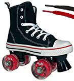 Lenexa MVP Roller Skates for Girls and Boys - Kid's Unisex Quad Roller Skates with High Top Shoe Style for Indoor/Outdoor (Black/Red, Youth 1)