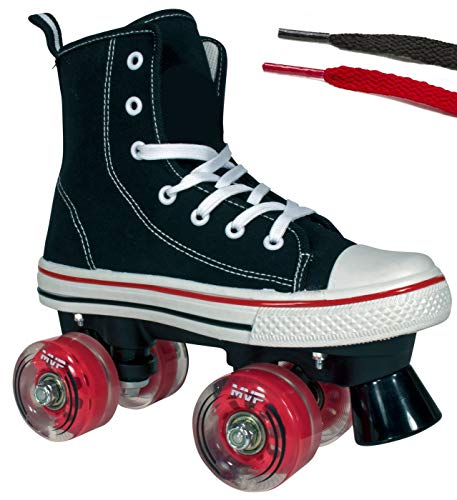 Lenexa Roller Skates for Girls and Boys MVP Kid's Unisex Quad Roller Skates with High Top Shoe Style for Indoor/Outdoor (Black & Red, 1)