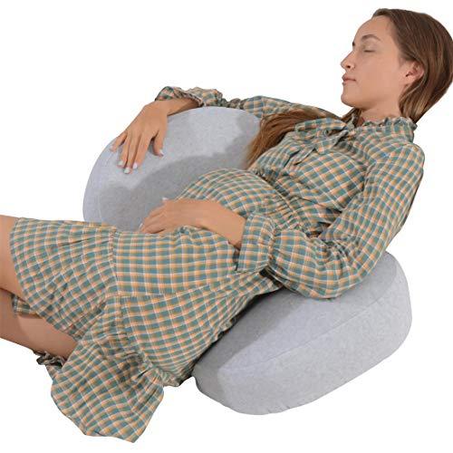 Siminzich Almohada de embarazo en forma de C, doble cuña para cuerpo, vientre, soporte de espalda, almohada de maternidad con funda de terciopelo extraíble