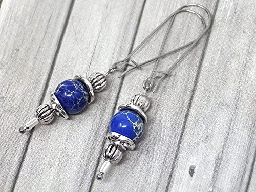 Pendientes Thurcolas de estilo vintage en jaspe imperial azul montados sobre elegantes aros de acero inoxidable