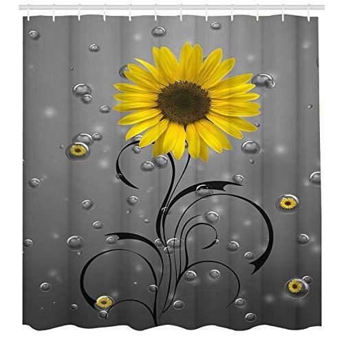Duschvorhang, Regentropfen, gelbe Blumen, wasserdicht, Stoff, Badvorhang, elegante Badezimmerdekoration, 183 x 183 cm