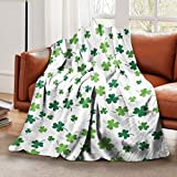 St Patricks Day Lucky Spring Green Clover Wave Shamrock Throw Blanket Soft Lightweight Flannel Blanket Sofa Fleece Blanket for Bed Living Room Home Beach Couch Travel 50'x40' for Kid Baby