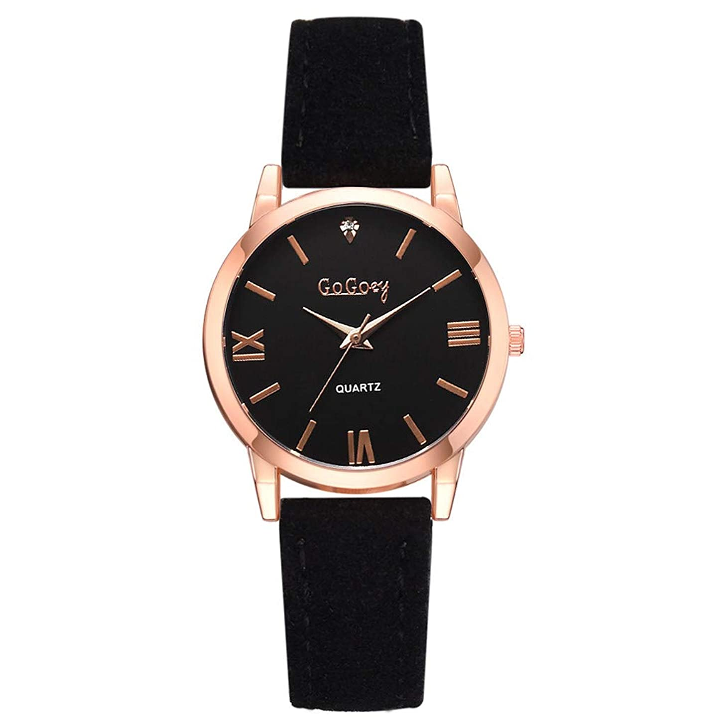 LUCAMORE Womens Analog Watches Quartz Wristwatch Casual Watch Unique Dress Watch Round Dial Leather Strap Jewelry Gift