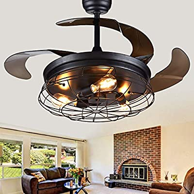 """Modern Brushed Nickel Retractable Ceiling Fan with Remote and Light (Bulbs NOT included), 42"""" Industrial Ceiling Fan by BellaDepot"""