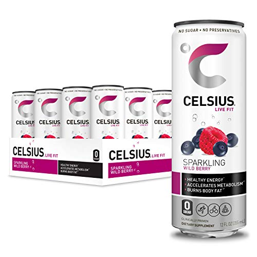 CELSIUS Sparkling Wild Berry Fitness Drink, ZERO Sugar, 12oz. Slim Can, 12 Pack Value Box