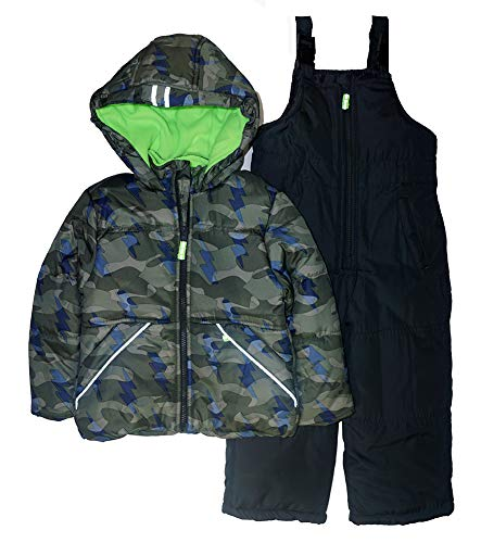 Osh Kosh Boys' Toddler Ski Jacket and Snowbib Snowsuit Set, Camo Print/Wharf Grey, 4T