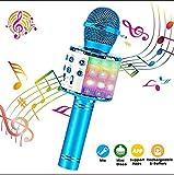 CPDZ Karaoke Microphone sans Fil Mini USB de Poche Mini Microphone pour téléphone Intelligent Bluetooth pour la Maison KTV Smartphone Partie,Bleu