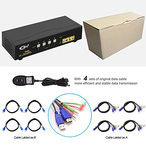 HDMI KVM Switch 4 Port Dual Monitor Extended Display, CKL USB KVM Switch HDMI 4 in 2 Out with Audio Microphone Output and USB 2.0 Hub, PC Monitor Keyboard Mouse Switcher 4K@30MHz CKL-942HUA