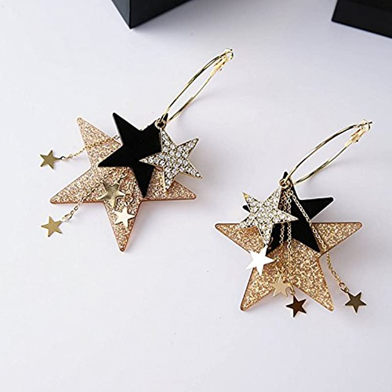 Usongs Korean Fashion Ear Jewelry Exaggerated Size Multi Plate Pentagonal Star Tassel Earrings Big Circle Earrings Sequins Earrings