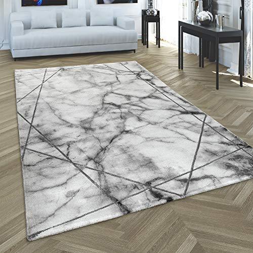 Paco Home Tapis de Salon Gris Argent 3-D-Motif Argent Marbre Lignes Design Poil Ras Robuste, Dimension:120x170 cm