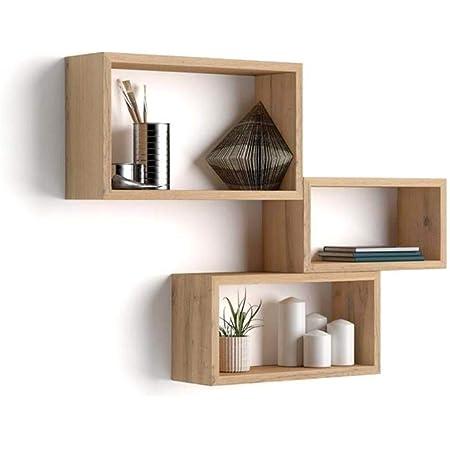 Mobili Fiver, Cubi da Parete Rettangolari, Set da 3, Giuditta, Rovere Rustico, Nobilitato, Made in Italy, Disponibile in Vari Colori