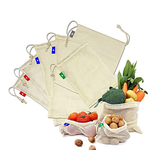 EzLife Sacs Réutilisables à Fruits et Légumes, Sacs en Maille Réutilisables en Coton Biologique Lavable Sac de Provisions Écologiques pour Ranger Les Fruits, Légumes, Courses, Jouets- Lot de 6