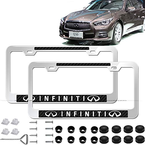 2pcs Newst Silver Stainless Steel License Plate Frame with Carbon Fiber Gloss Finish Carbon Weave, with Screw Caps Cover Set Suit,Applicable to US Standard car License Frame for Infiniti.