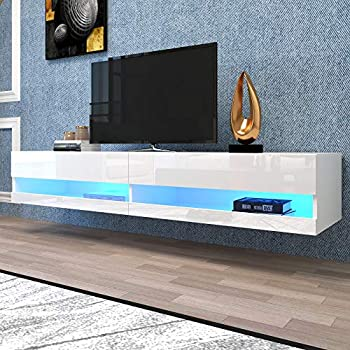 Tdbest White TV Stand Floating Entertainment Center for 71 Inch TV 12 Colors LED Modern Wall Mount Shelf Console Table for Living Room