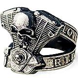 24 JOYAS Anello teschio da motociclista ridimensionabile anello motore teschio stile rocker unisex e Lega di zinco., regolabile, colore: argento, cod. 24-AE-463