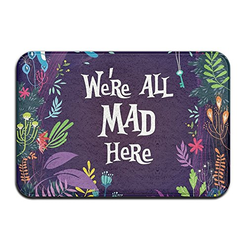 YS25 Bathroom Rug Mat Contour Rug Toilet Floor Rug Flannel Bath Shower Mat We're All Mad Here Square Carpet