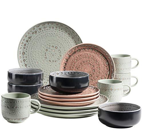 MÄSER Serie Spicy Market Vajilla para 4 personas con diseño vintage mediterráneo (16 piezas, cerámica), multicolor, gres