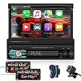 OiLiehu Radio Estéreo para Coche de 7 Pulgadas con un Solo Din y Pantalla Táctil HD Retráctil Compatible con Enlace Espejo Compatible con Apple Car Play y Android Auto + Cámara de Respaldo de 12 Luces