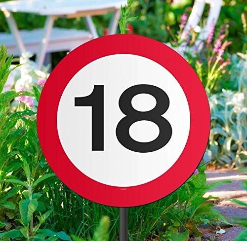 Creative tuinbord voor verjaardagsfeestje, verkeersbord, 18 Geboorte