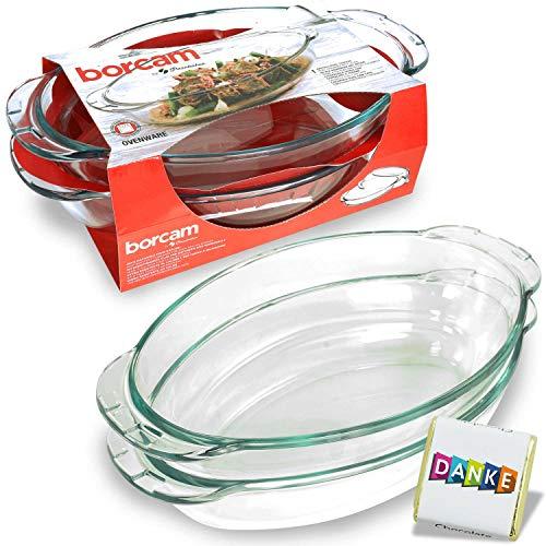 Borcam Auflaufform/Kasserolle mit Glasdeckel, Oval, 2300 cc, von Pasabahce