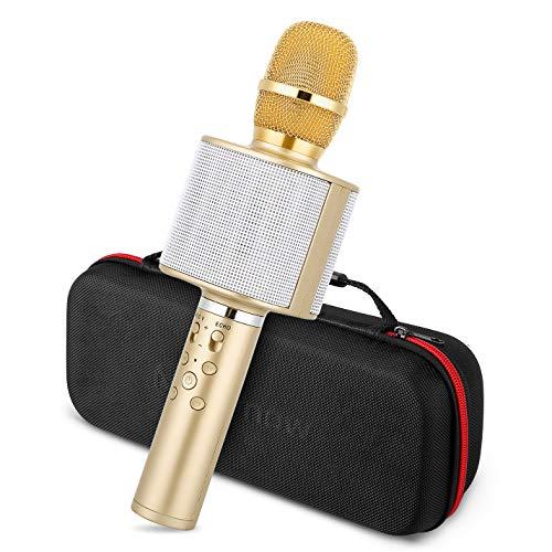 Micrfono Karaoke Bluetooth, Mbuynow TWS Micrfono Inalmbrico con Altavoz Incorporado para Cantar Funcin de Eco Party, Compatible con Android/iOS, PC o Smartphone (Rosa)