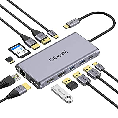 USB C Hub, USB C Docking Station, QGeeM 12 in 1 Triple Display Type C Hub to Dual 4K HDMI & DP,USB C to USB Adapter,100W PD, Gigabit Ethernet, USB C Card Reader,USB Docking Station