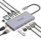 QGeeM USB C ハブ,USB Type C HDMI ドッキングステーション,displayport ポート付き,デュアル4K HDMI,USB C-USBアダプター,100W PDポート,ギガビットイーサネット,SD/TFカードリーダー,MacBookなど対応の12 in 1トリプルディスプレイhub