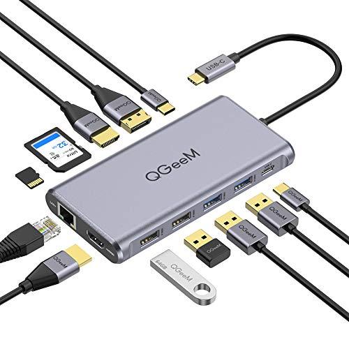 QGeeM USB C-hubb, 12-i-1 USB C-dockningsstation 4k trippeldisplay typ C-adapter, dubbel HDMI och DisplayPort, USB-C dataöverföring, 100 W PD, Ethernet, 4 USB-portar, SD/TF-kortläsare för MacBook och Windows (DP)