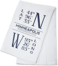 Minneapolis, Minnesota - Latitude and Longitude (Blue) (100% Cotton Kitchen Towel)