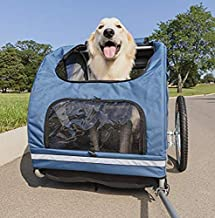 PetSafe Happy Ride Steel Dog Bicycle Trailer - Durable Frame - Easy to Connect and Disconnect to Bikes - Includes Three Storage Pouches and Safety Tether - Collapsible to Store - Large