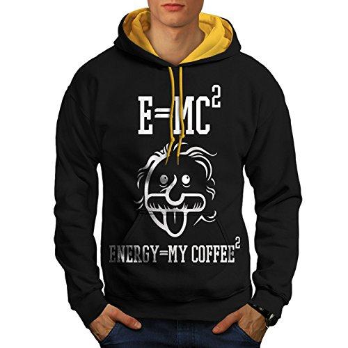 wellcoda Einstein Kaffee Männer Kontrast Kapuzenpullover Lustig Legerer Pullover