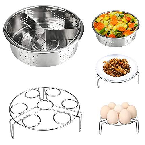 LYTIVAGEN Cesta para cocinar al vapor, cesta de acero inoxidable, cesta con soporte para huevo, vapor, basculante para olla a presión instantánea