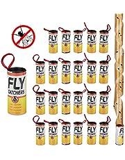 Relaxdays Vliegenvanger, lijmrollen, set van 24, gifvrij, milieuvriendelijk, kleefvallen om op te hangen, binnen, bruin