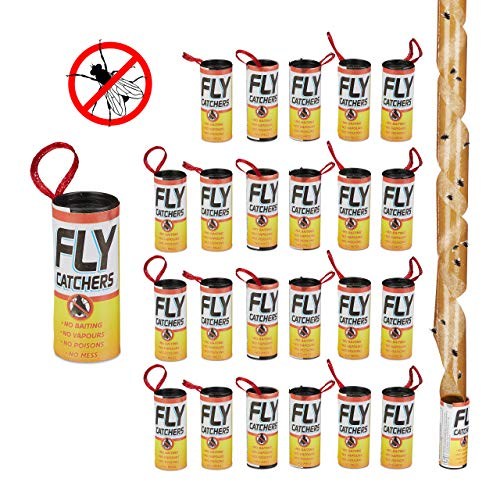 Relaxdays Fliegenfänger Leimrollen, 24er Set, giftfrei, umweltfreundlich, Klebefallen zum Aufhängen, Innenbereich, Braun
