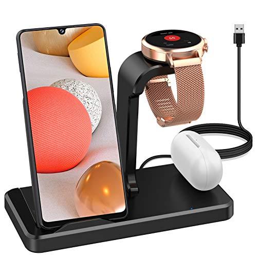 Aimtel Ladestation Kompatibel mit Fossil Gen 4/5/ 5E 3 in 1 Ladegerät, Wireless Ladestation für Samsung S20/S10 (+ /Note 20)/10und iPhone 11 (Pro) /X/XS/XS Max, Samsung Buds Live/Buds+/Buds(Type C)