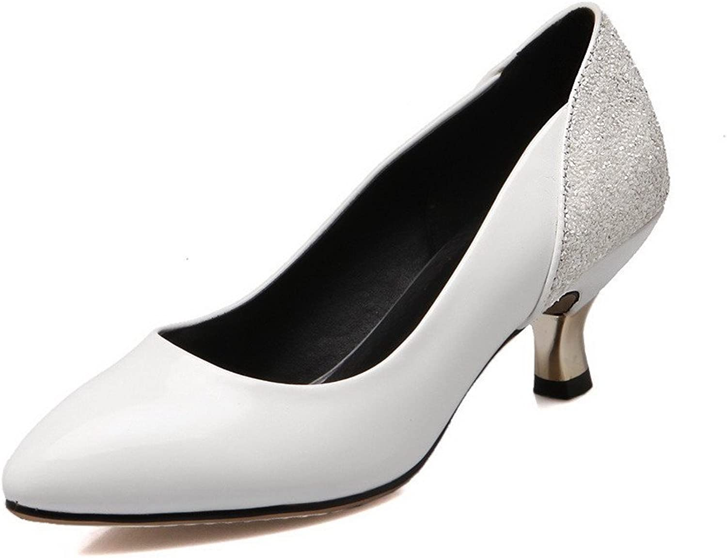 WeenFashion Women's Pointed Closed Toe Kitten Heels Solid Pull On Pumps-shoes