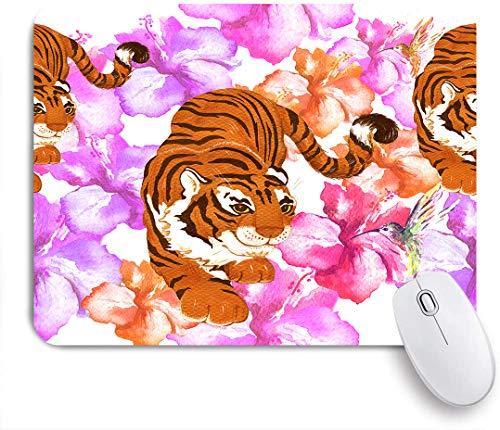 Dekoratives Gaming-Mauspad,Aquarell Tropische Pflanzen und tiger,Bürocomputer-Mausmatte mit rutschfester Gummibasis