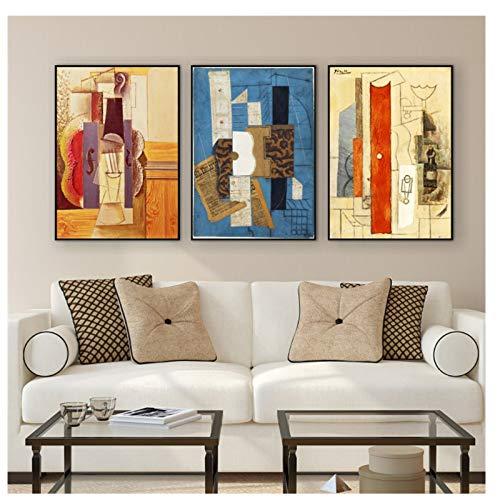 GIRDSS Weltberühmte Malerei Picasso Gitarre Abstrakte Leinwand Malerei Kunst Wandbilder-50X70cmx3 Rahmenlos