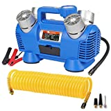 GSPSCN 12V Portable Air Compressor Pump Powerful Quadruple Cylinder,Heavy Duty Auto 150PSI Tire Inflator Blue,Fast Air Pump,for Car, Truck, RV, ATV, Pickup and Other Inflatables