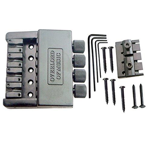 Shiwaki Schwarzes 4 String Bass Bridge Saitenhalter System Für Headless Bassgitarren Parts