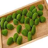 ConPush 30 Stück 5 x 3 cm Künstliche Moos Steine Mooskugel Kleine Moos Felsen Grüne Moosbälle für Feengärten, Blumenarrangements, Terrarien und Handwerk